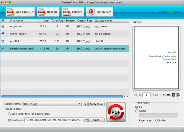Aiseesoft PDF to Image Converter, PDF Conversion Software Screenshot