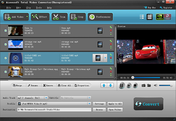 Aiseesoft Total Video Converter Screenshot