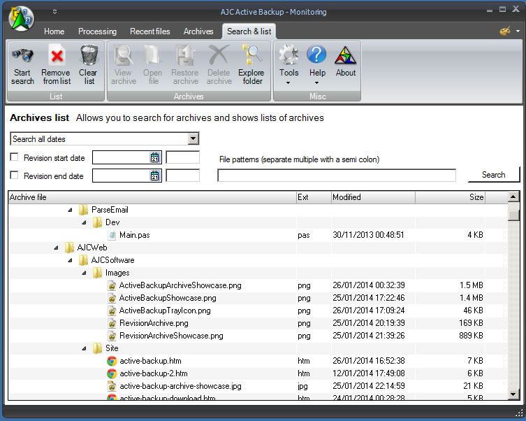Security Software, AJC Active Backup Screenshot