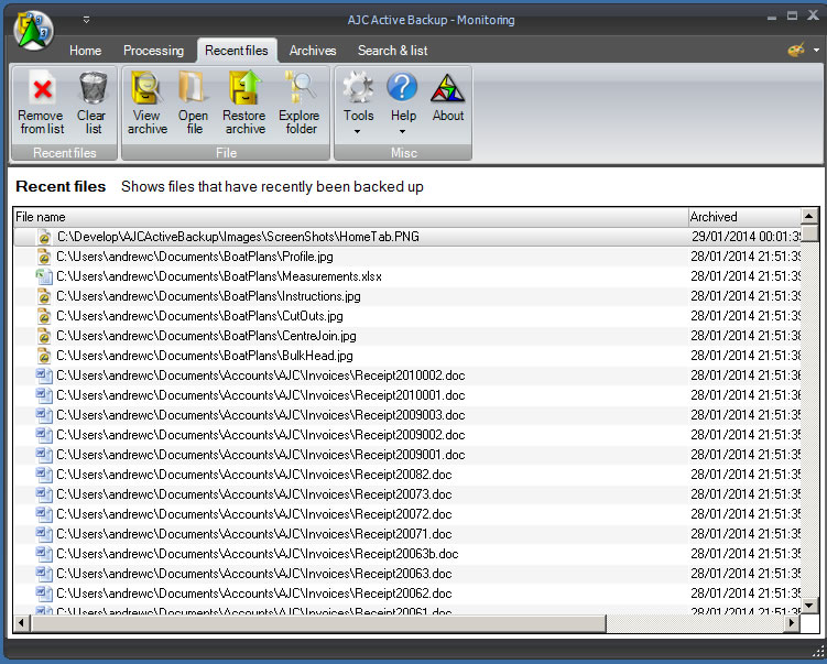 AJC Active Backup, Security Software Screenshot