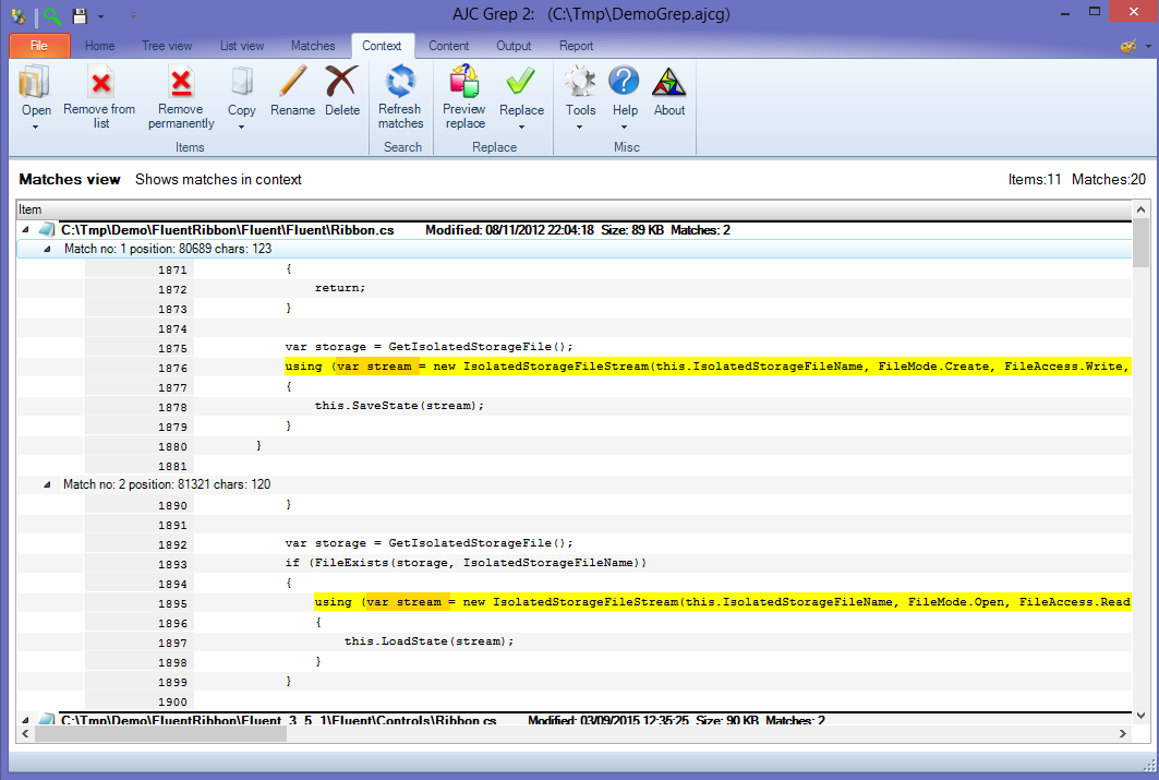 Search and Replace Software, AJC Grep Screenshot