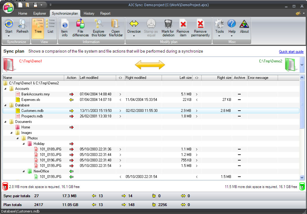 AJC Sync, Backup Files Software Screenshot