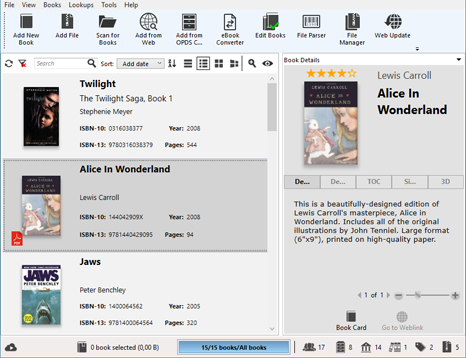 Alfa Ebooks Manager Professional, Organization Software Screenshot