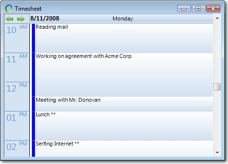 algTime, Time Tracking Software Screenshot
