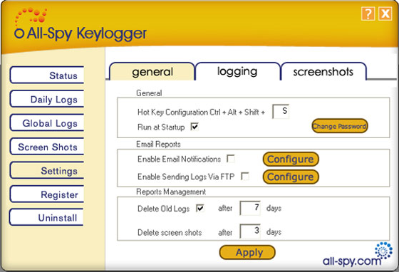 All-Spy Keylogger, Security Software Screenshot