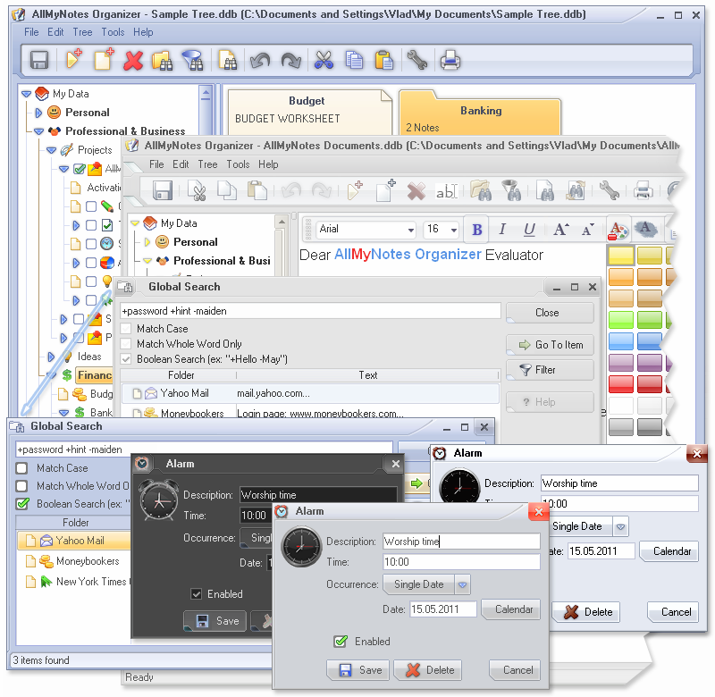 Notes Software, AllMyNotes Organizer Screenshot