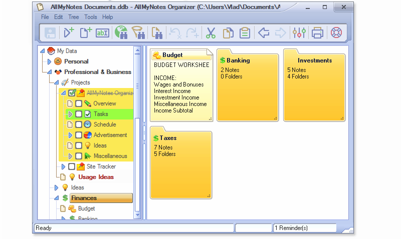 AllMyNotes Organizer, Productivity Software Screenshot