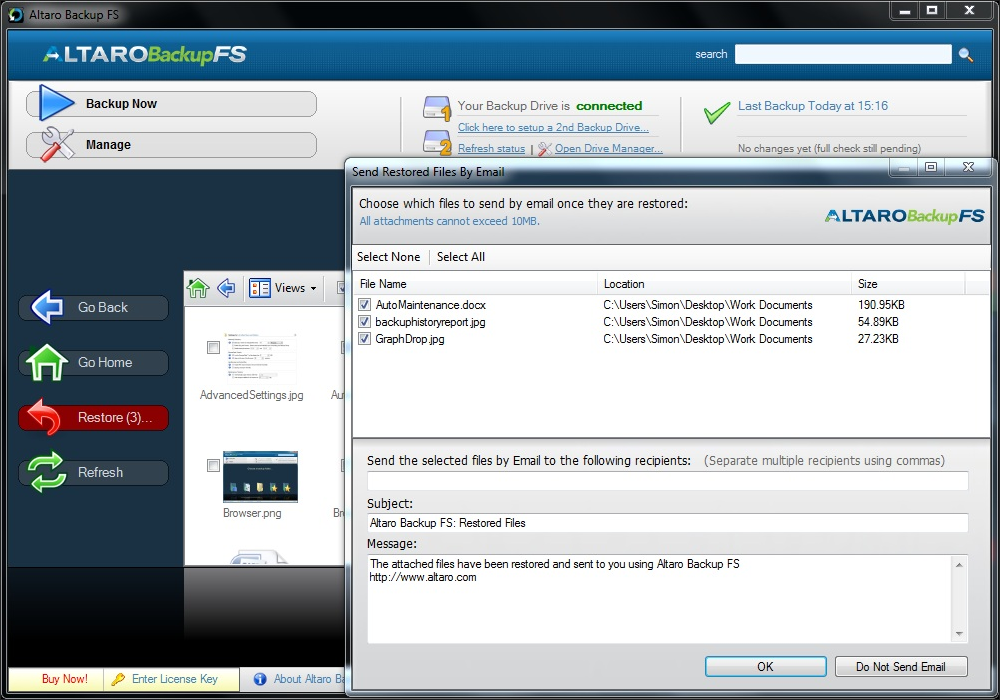 Altaro Backup FS, Backup Files Software Screenshot