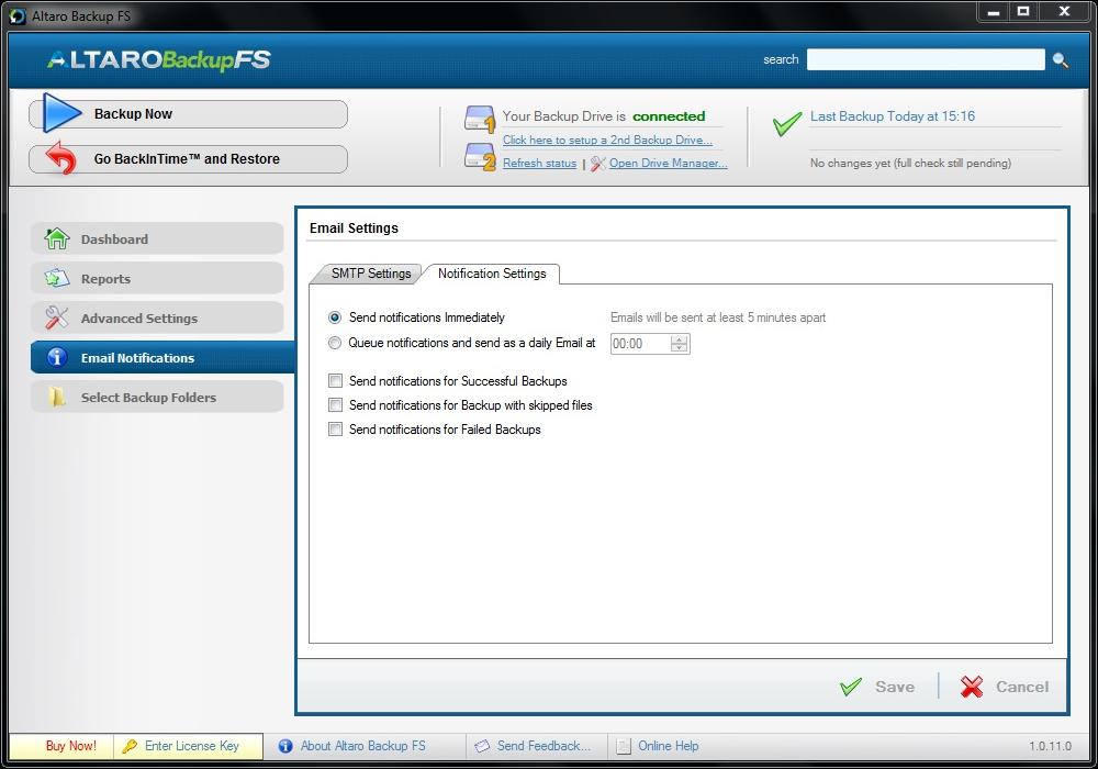 Backup Files Software, Altaro Backup FS Screenshot