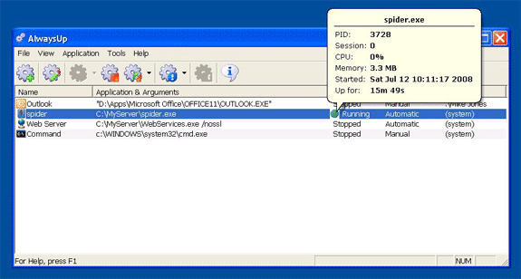 AlwaysUp, Task Manager Software Screenshot