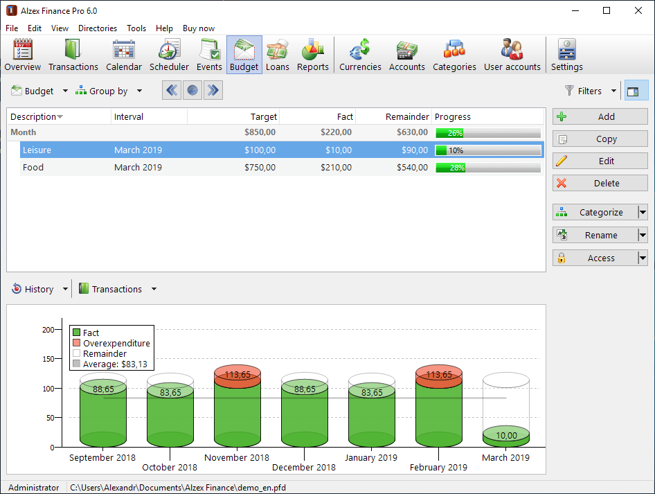 Personal Finance Software, Alzex Finance Pro Screenshot