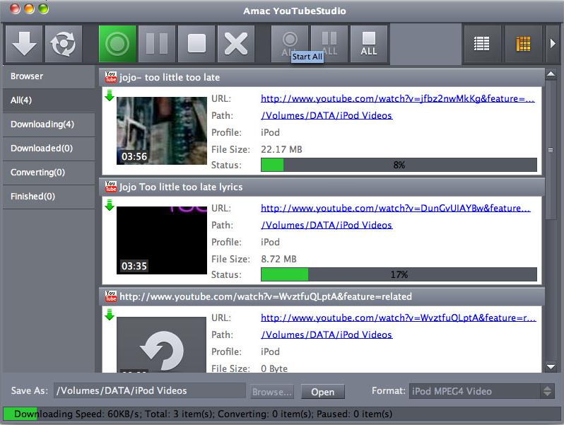 Amac YouTubeStudio, Video Software Screenshot