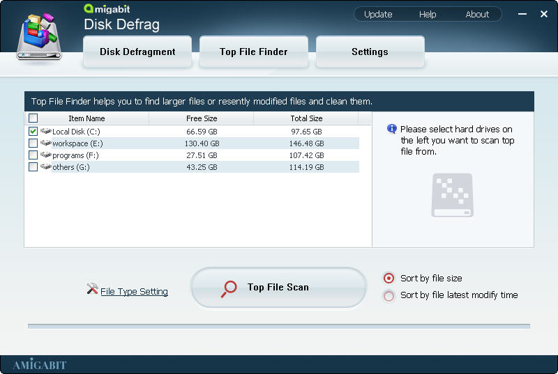 Amigabit Disk Defrag, Hard Drive Software Screenshot