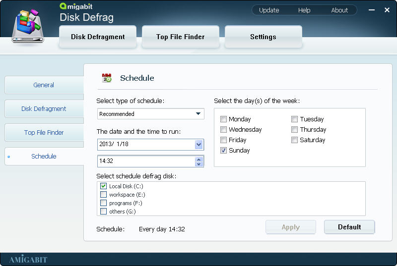 Software Utilities, Amigabit Disk Defrag Screenshot