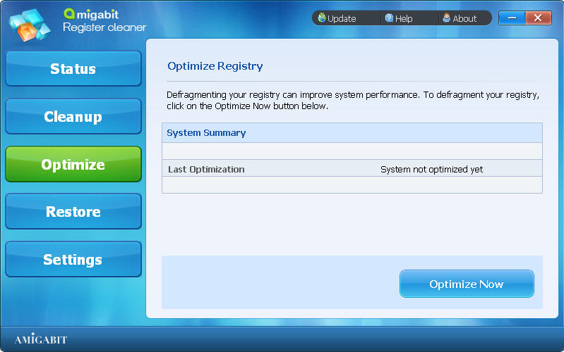 Amigabit Registry Cleaner, System Stability Software Screenshot