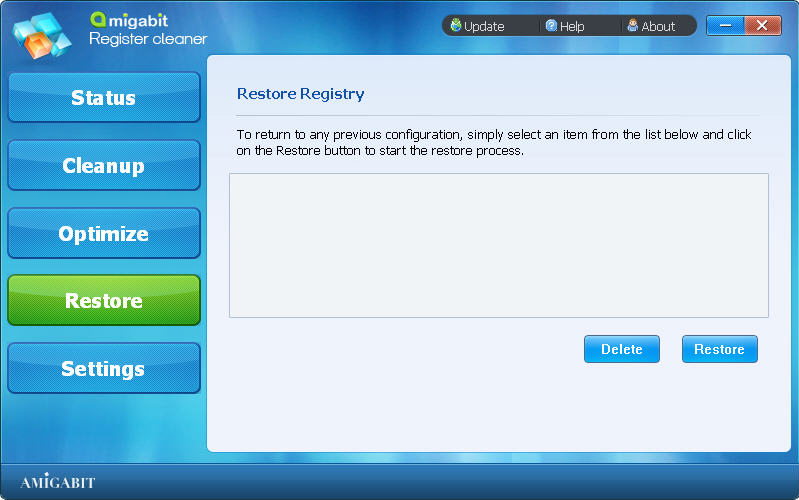 Amigabit Registry Cleaner, Software Utilities Screenshot