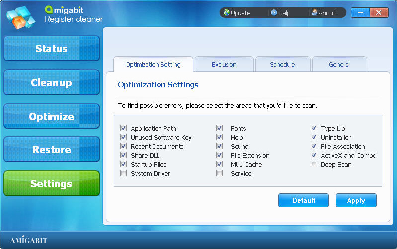 Software Utilities, Amigabit Registry Cleaner Screenshot