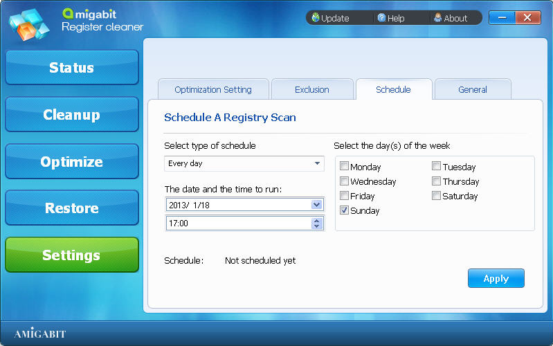 System Stability Software, Amigabit Registry Cleaner Screenshot