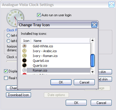 Clock Software, Analogue Vista Clock Screenshot