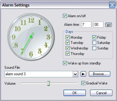 Analogue Vista Clock, Clock Software Screenshot