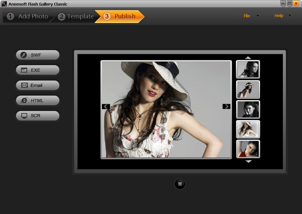 Aneesoft Flash Gallery Classic, Slideshow Software Screenshot
