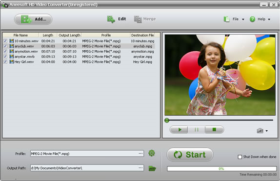 Aneesoft HD Video Converter Screenshot