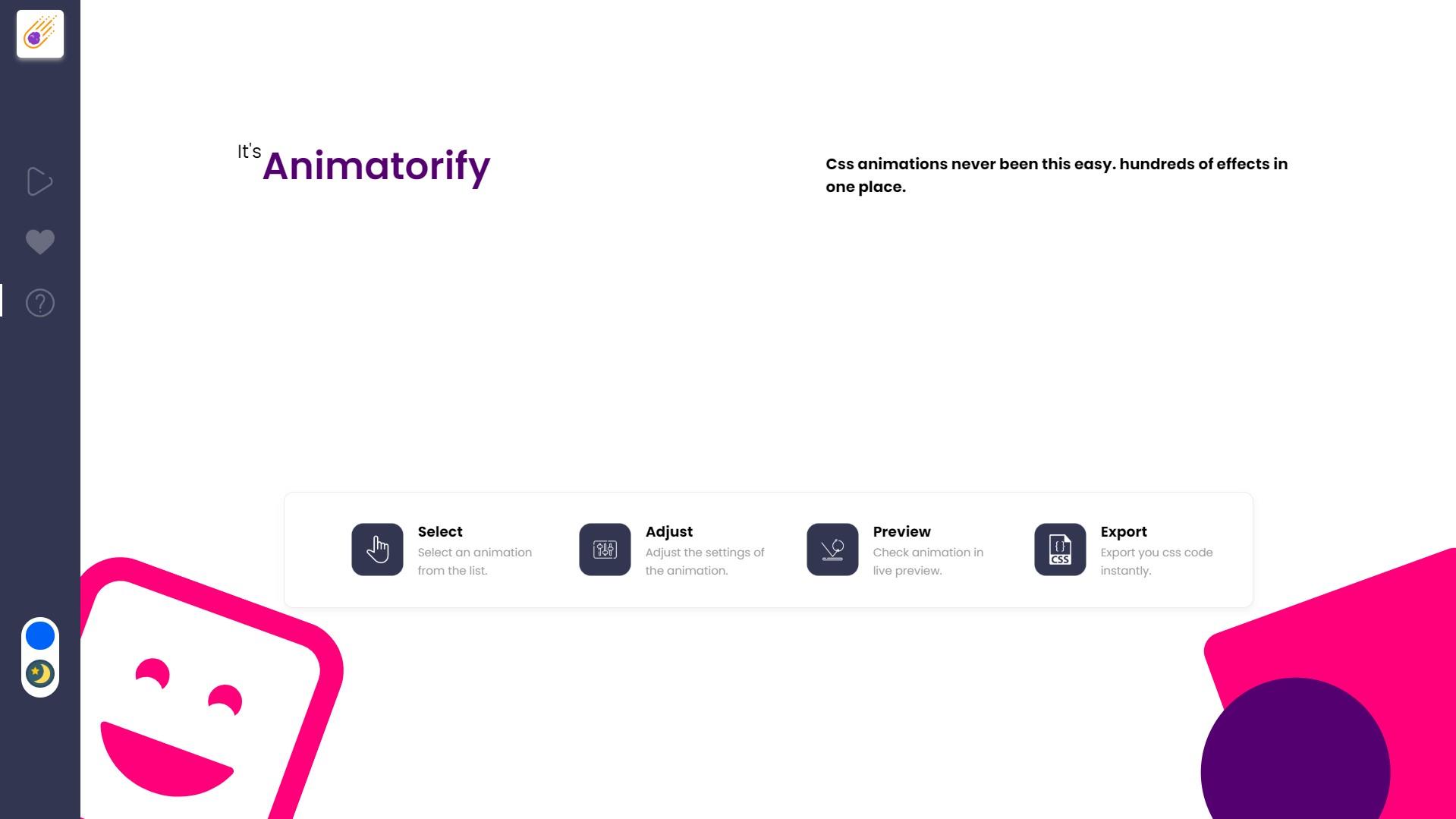 Animatorify - CSS Animation Creator, Development Software Screenshot