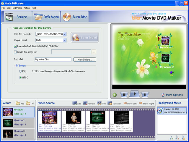 AnvSoft Movie DVD Maker, Video Software Screenshot