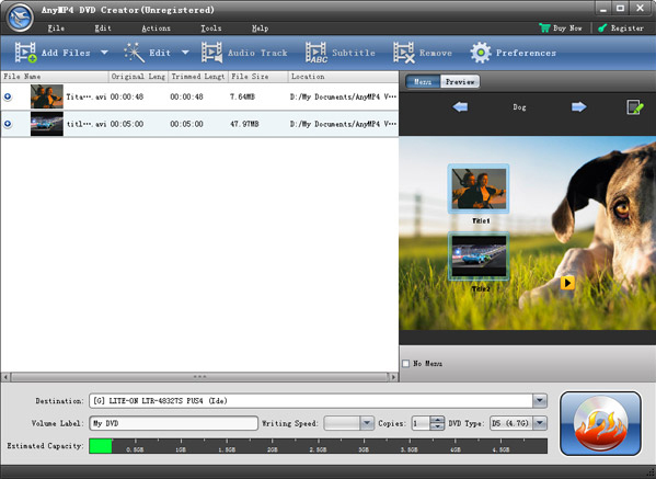 AnyMP4 DVD Creator Screenshot