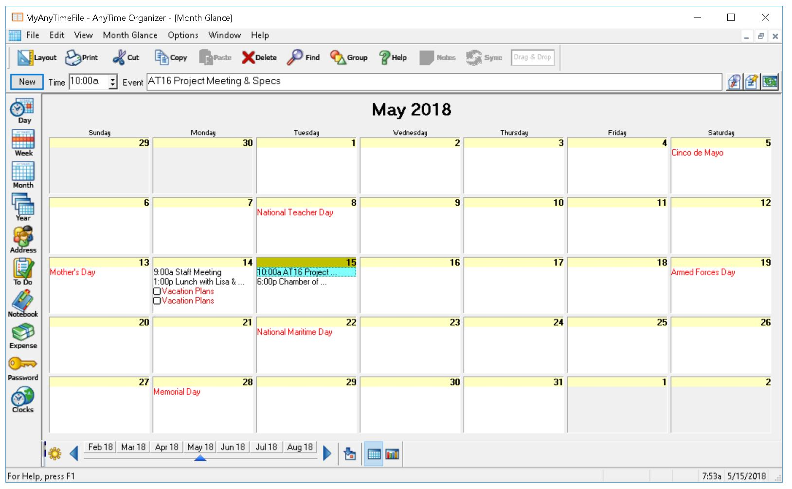 AnyTime Organizer Deluxe, Productivity Software Screenshot
