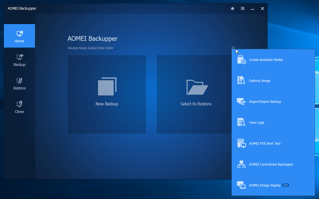AOMEI Backupper Pro, Security Software Screenshot