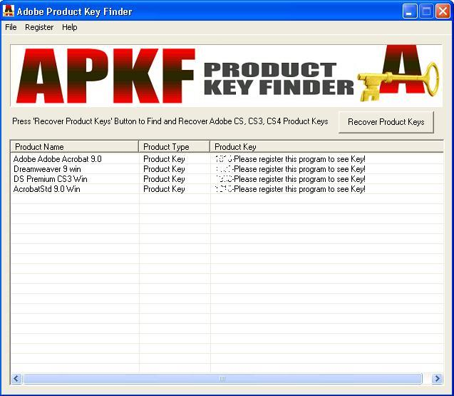 APKF Product Key Finder Screenshot