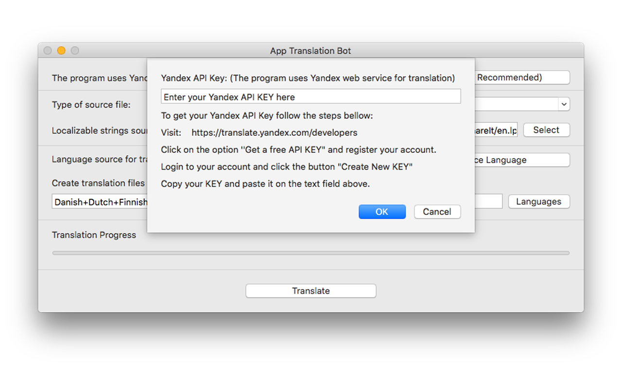 App Translation Bot, Development Tools Software Screenshot