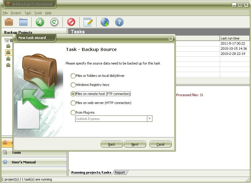 ArkBackup Professional, Backup and Restore Software Screenshot