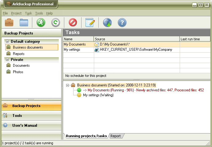 ArkBackup Professional Screenshot
