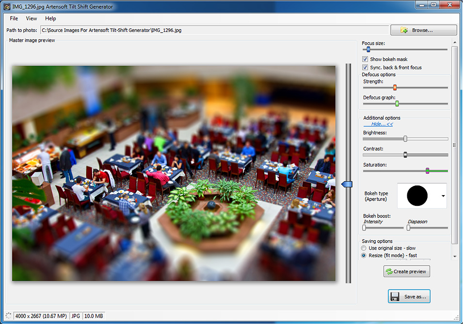 Artensoft Tilt Shift Generator, Photo Editing Software Screenshot