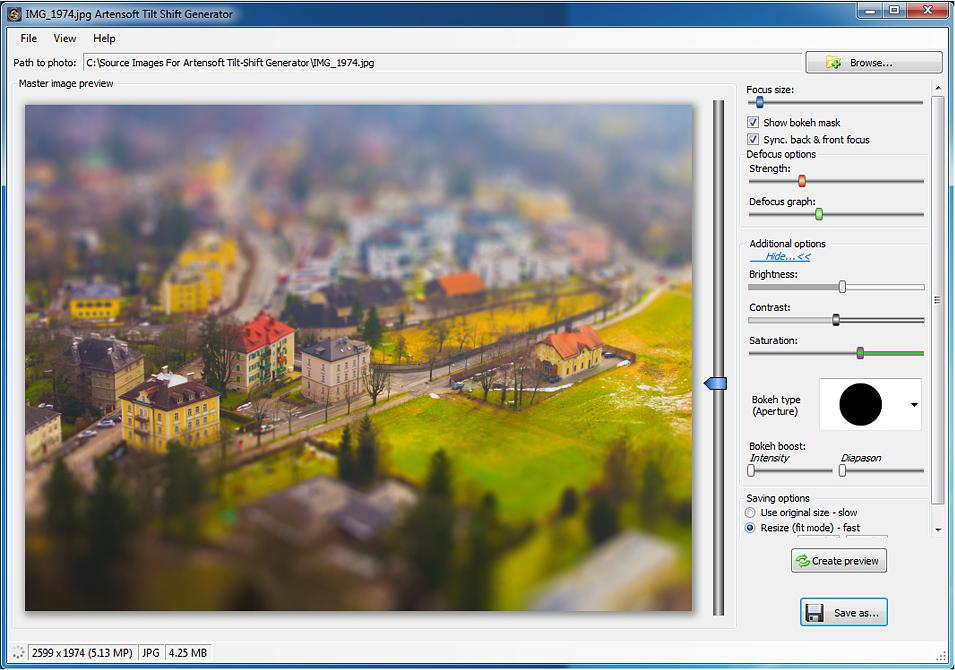 Photo Editing Software, Artensoft Tilt Shift Generator Screenshot