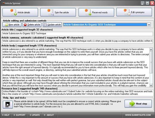Article Spinner Screenshot