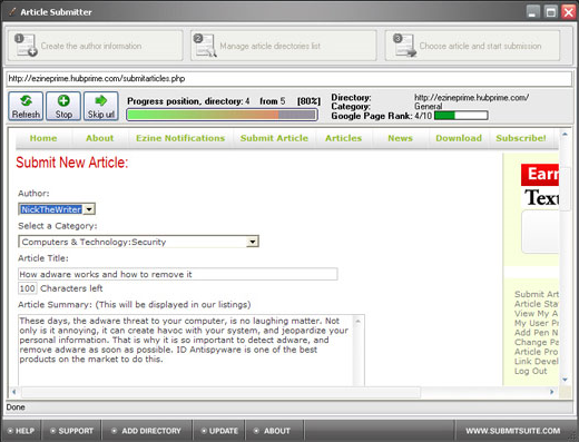 Article Submitter Screenshot