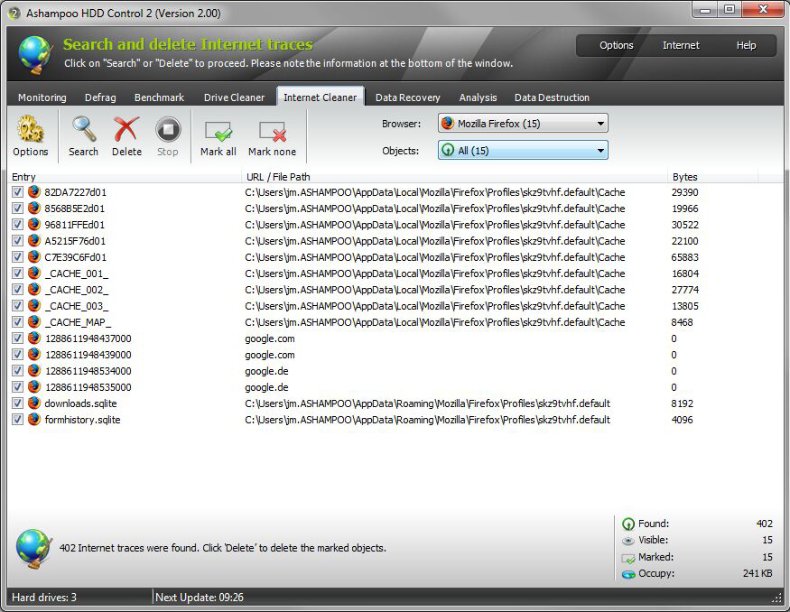 Software Utilities, Ashampoo HDD Control Screenshot
