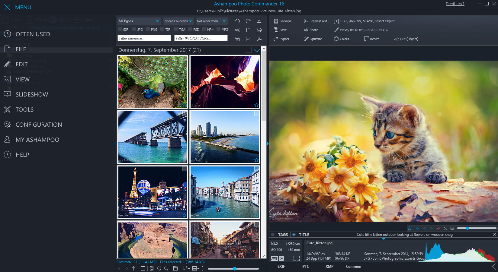Design, Photo & Graphics Software, Ashampoo Photo Commander Screenshot