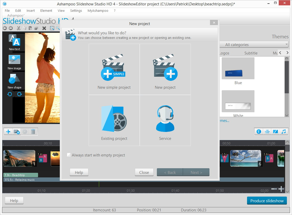 Ashampoo Slideshow Studio HD 4, Slideshow Software Screenshot