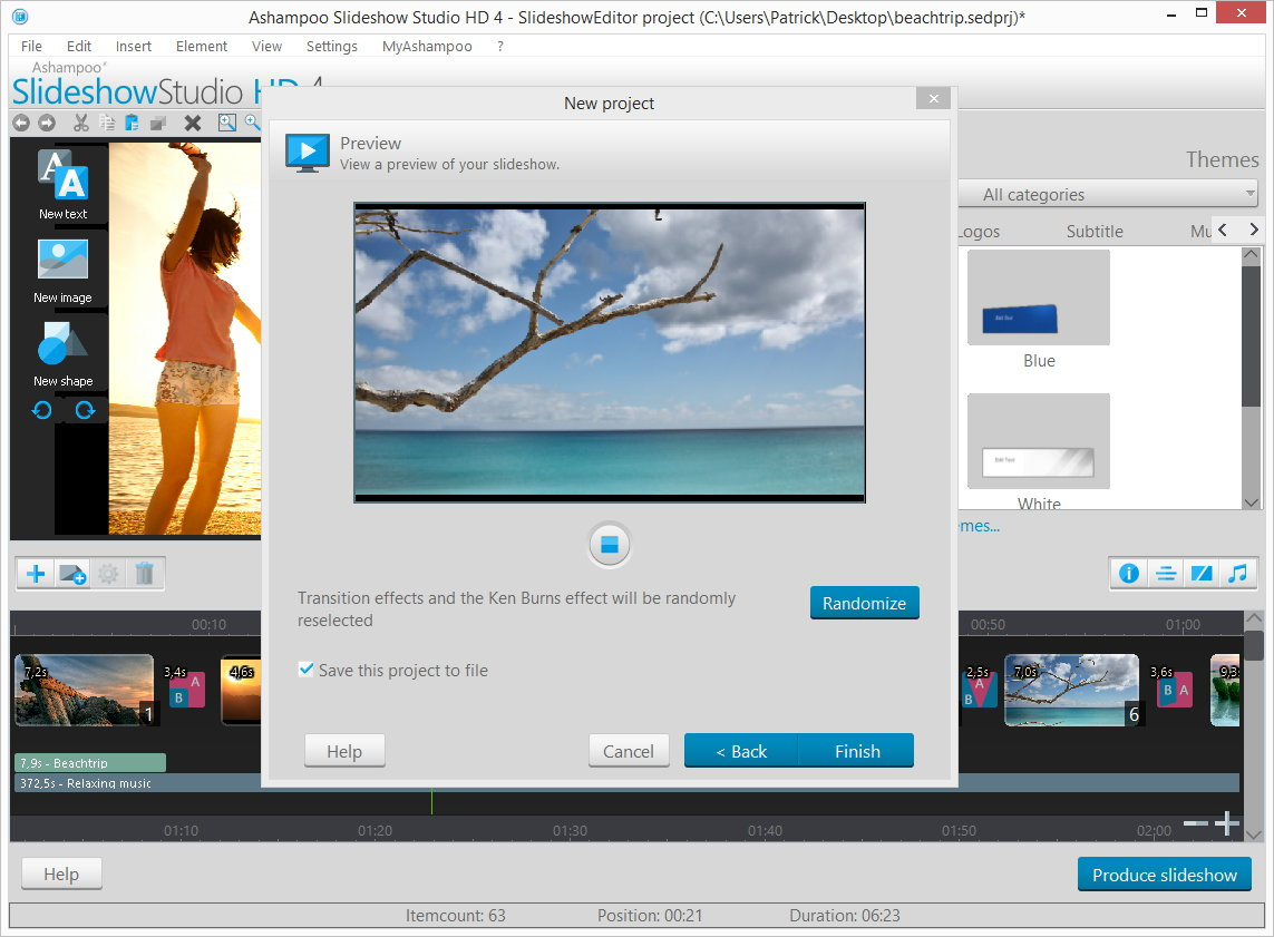 Ashampoo Slideshow Studio HD 4, Design, Photo & Graphics Software, Slideshow Software Screenshot