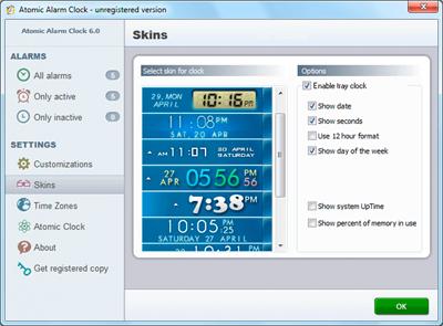 Atomic Alarm Clock, Clock Software Screenshot