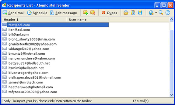 Atomic Mail Sender, Internet Software Screenshot