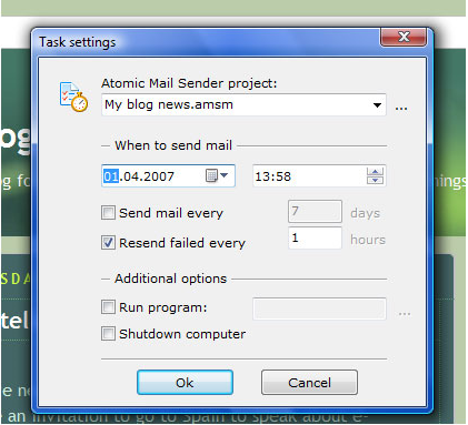 Internet Software, Atomic Mail Sender Screenshot