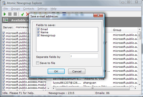 Atomic Newsgroup Explorer, Email Extraction Software Screenshot