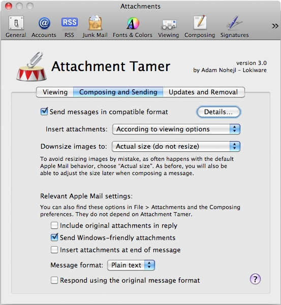 Attachment Tamer, Email Tools Software Screenshot