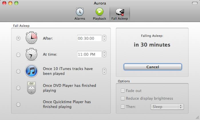 Aurora, Clock Software Screenshot
