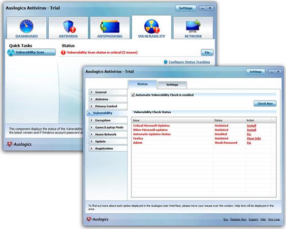 Auslogics Antivirus 2010, Security Software Screenshot